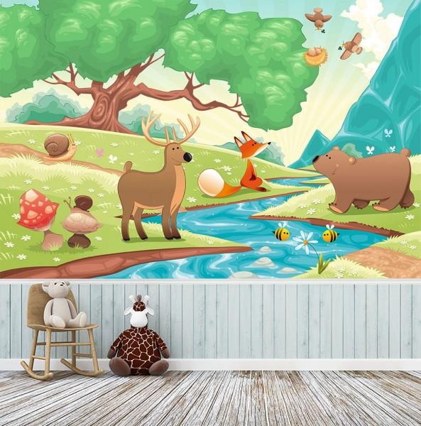 selbstklebende Fototapete - Kinderbild - Waldtiere II Cartoon - Fuchs, Elch und Bär
