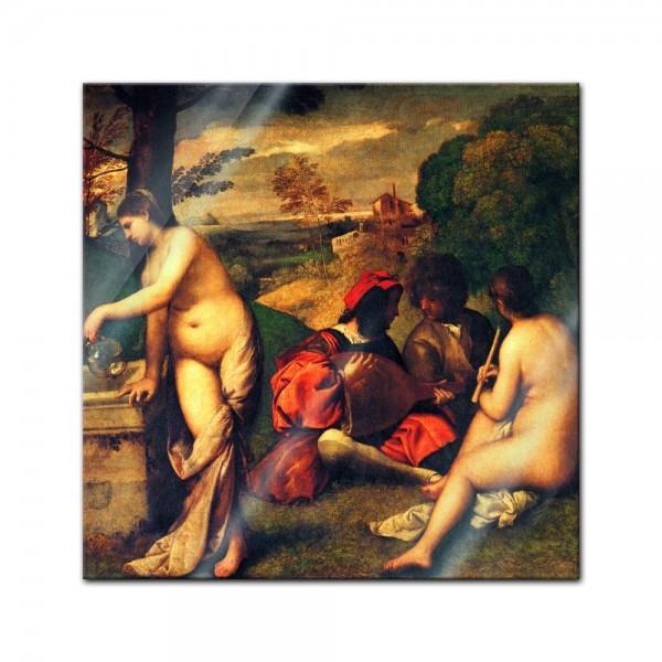 Glasbild Tizian - Alte Meister - Ländliches Konzert -