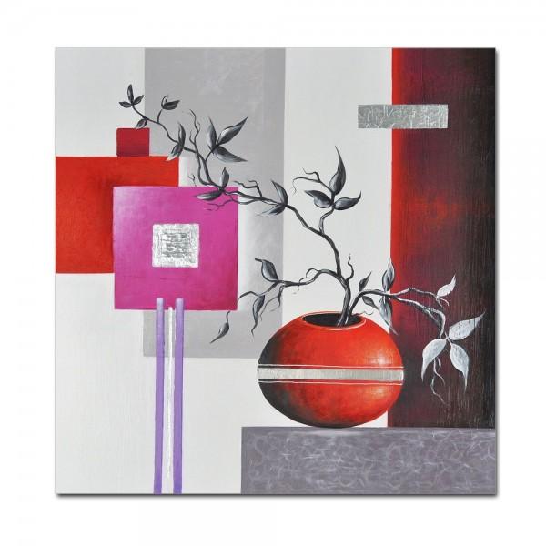 Abstrakte Kunst M1 handgemaltes Leinwandbild 80x80cm - 4cm Galerierahmen! - 801