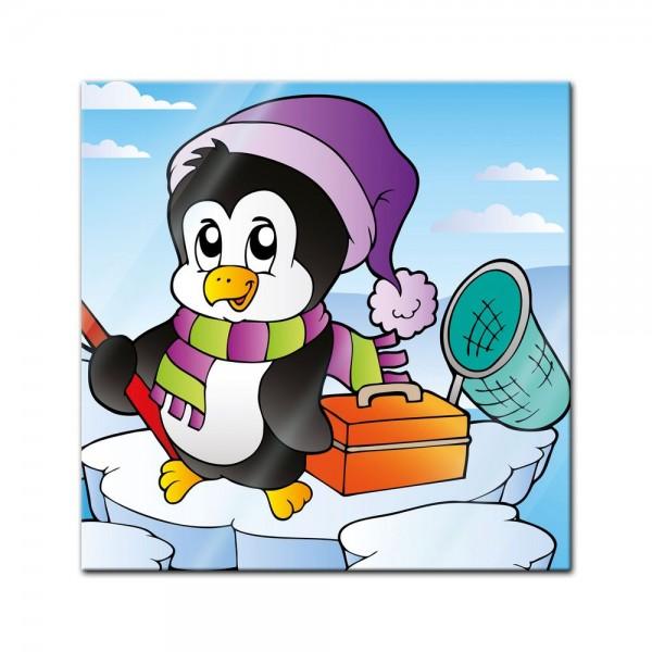 Glasbild - Kinderbild fischender Pinguin