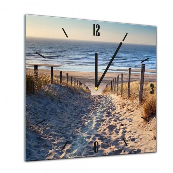 Glasuhr - Sonne, Strand und Meer - Schöner Weg zum Strand III - 40x40cm