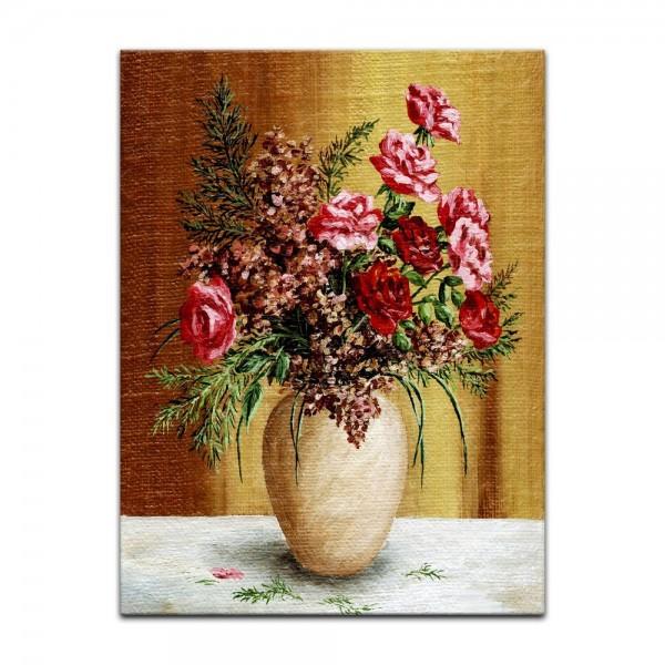 Leinwandbild - Rosenstrauß in weißer Vase