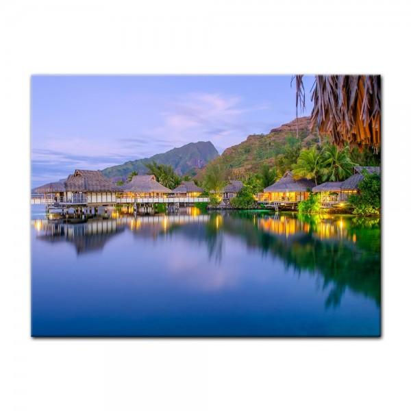 Leinwandbild - Wasserbungalows in französisch Polynesien