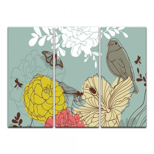 Leinwandbild - Kinderbild - Blumen Vogel und Schmetterlinge