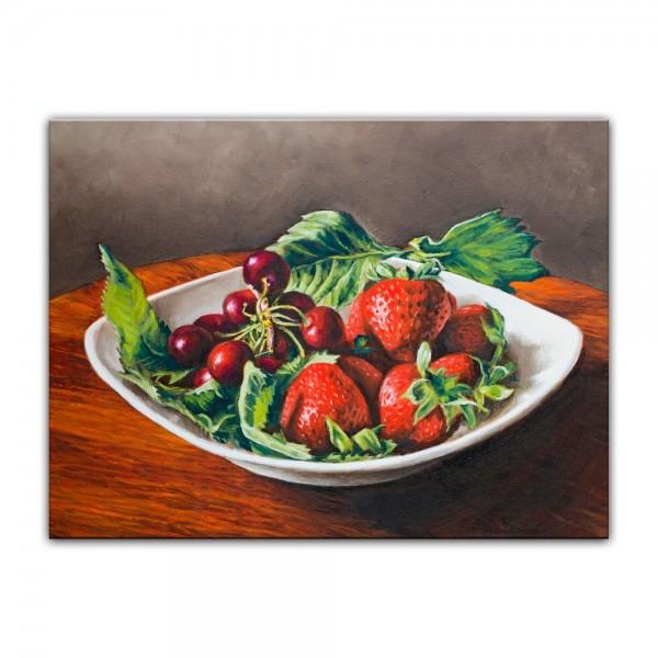 Leinwandbild - Kirschen und Erdbeeren