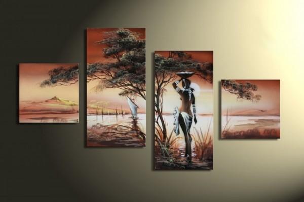 African Dreams M1 - Leinwandbild 4 teilig 80x50cm Handgemalt
