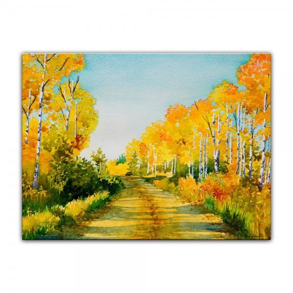 Leinwandbild - Aquarell Waldweg im Herbst II