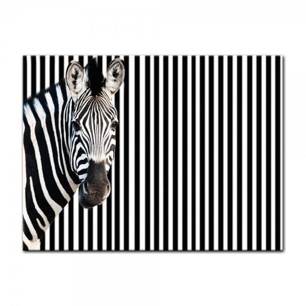 Leinwandbild - Zebra vor einem gestreiften Hintergrund