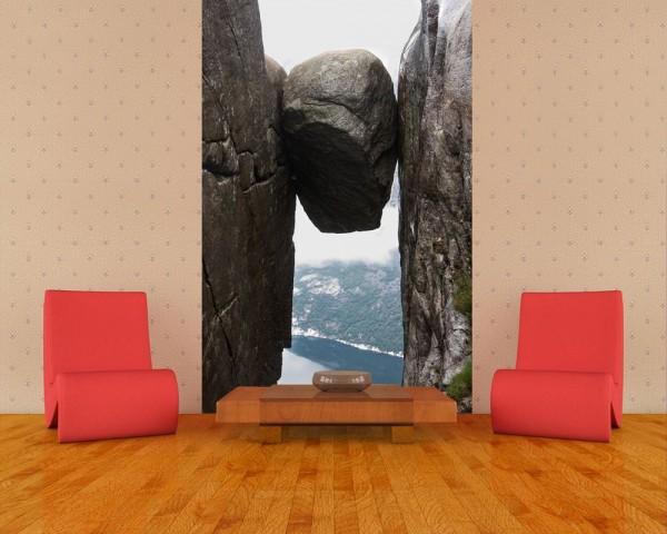 SALE Fototapete - Kjeragbolten Fjord Norwegen - 180 cm x 270 cm - farbig