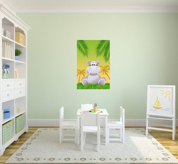 selbstklebende Fototapete - Kinderbild - Hippo Cartoon