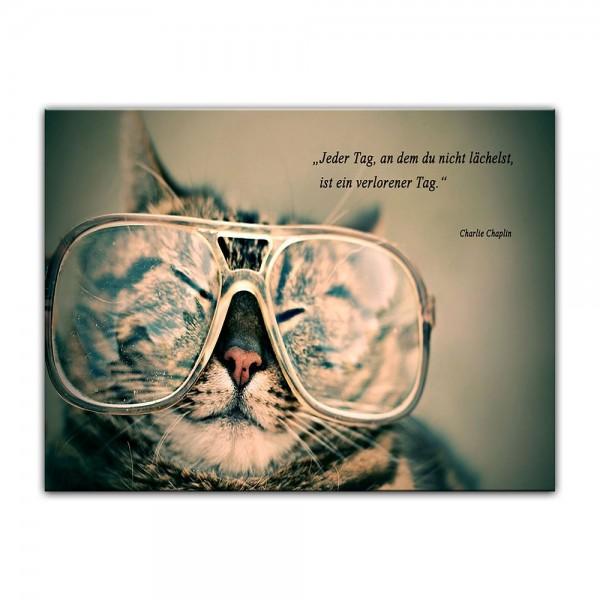 Leinwandbild mit Zitat - Jeder Tag, an dem du nicht lächelst, ist ein verlorener Tag. (Charlie Chapl