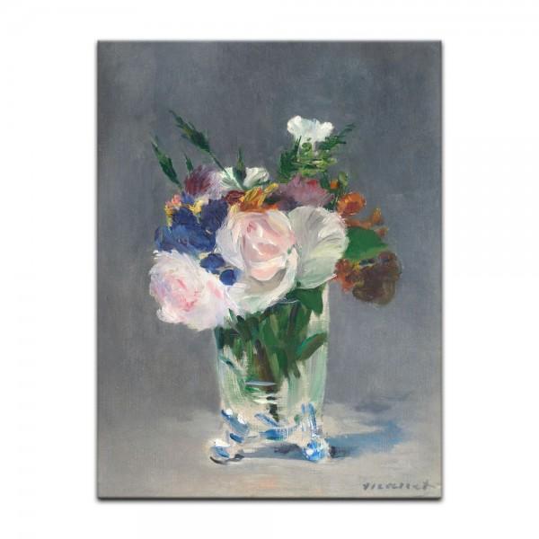 Leinwandbild - Édouard Manet - Blumen in einer Kristallvase