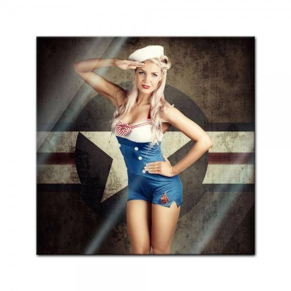 Glasbild - Military Pin-Up Girl