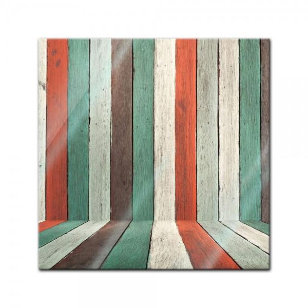 Glasbild - Bunte Holzwand