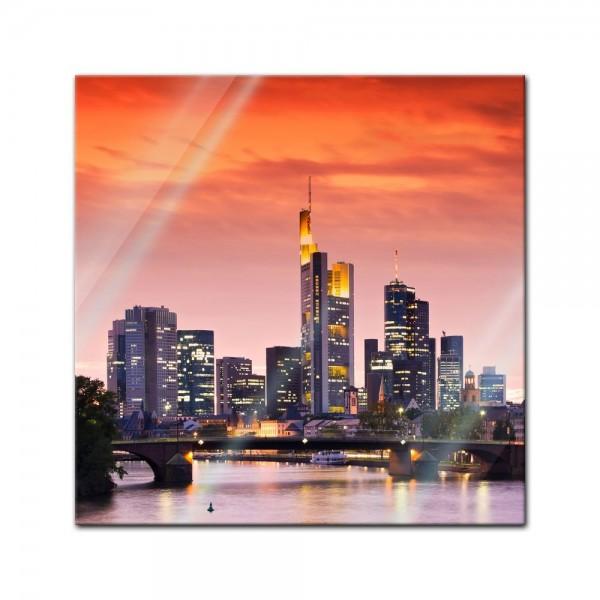 Glasbild - Frankfurt Skyline - Deutschland bei Nacht - Deutschland