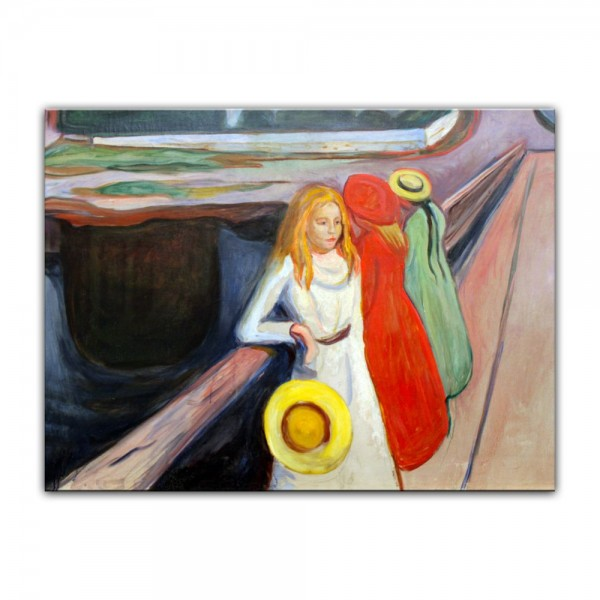 Leinwandbild - Edvard Munch - Mädchen auf der Brücke I