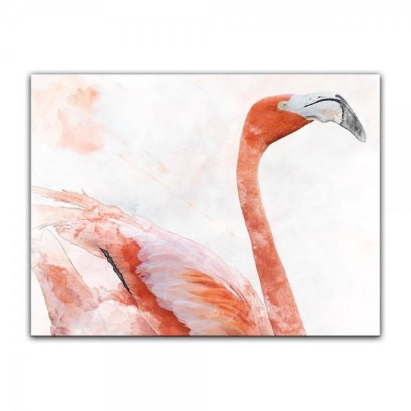 Leinwandbild - Aquarell - Flamingo