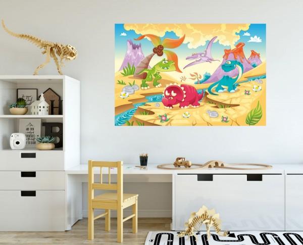 selbstklebende Fototapete - Kinderbild - Dinosaurier Cartoon - Giganten der Urzeit