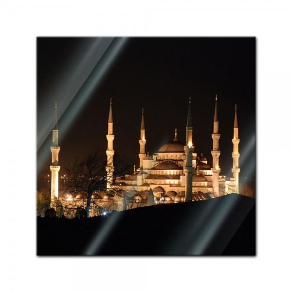 Glasbild - Moschee bei Nacht