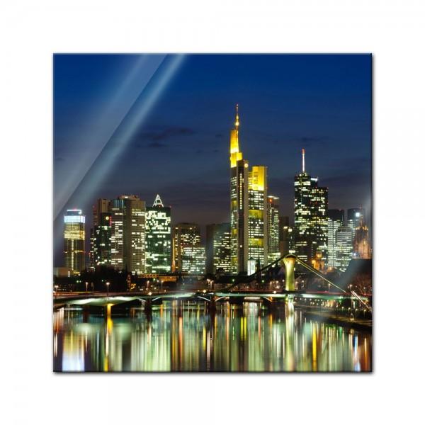 Glasbild - Frankfurt Skyline bei Nacht - Deutschland