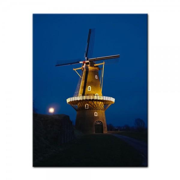 Leinwandbild - Windmühle am Abend