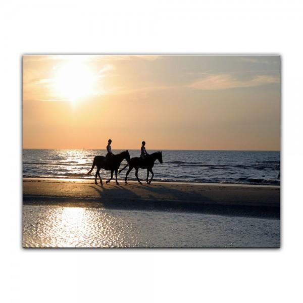Leinwandbild - Reiter im Sonnenuntergang