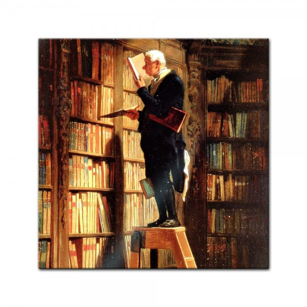 Glasbild Carl Spitzweg - Alte Meister - Der Bücherwurm