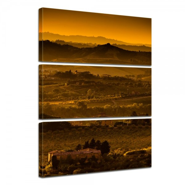SALE Leinwandbild - Toskana im Sonnenuntergang - 60x90 cm 3tlg