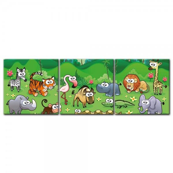 Leinwandbild - Kinderbild - Dschungeltiere Cartoon I