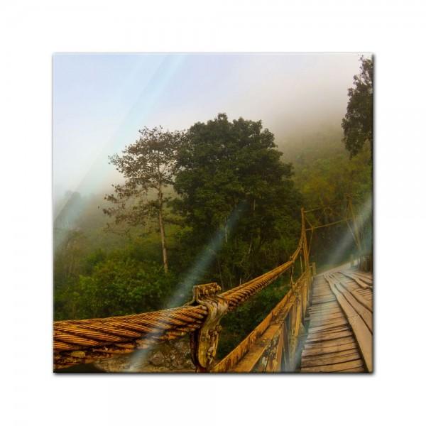 Glasbild - Brücke im Nebel - Guatemala