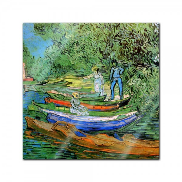 Glasbild Vincent van Gogh - Alte Meister - Boote am Ufer der Oise