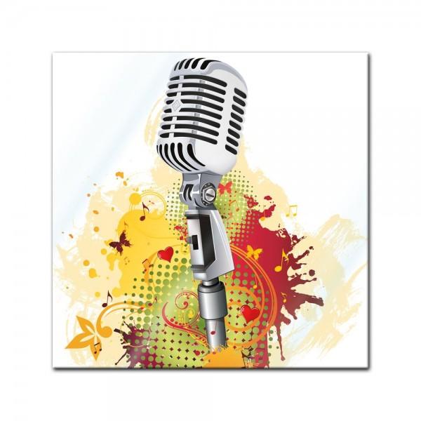 Glasbild - Old Microphone - Altes Mikrofon