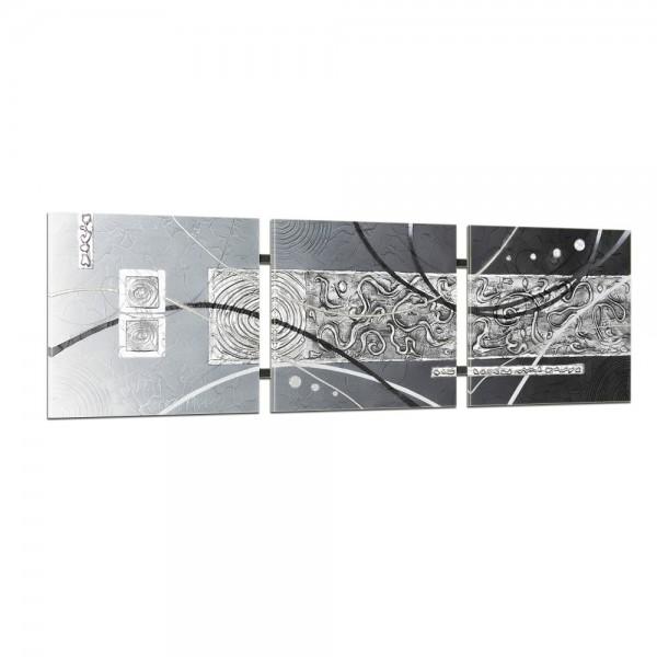 Abstrakte Kunst handgemaltes Wandbild 104x33cm - 3D Struktur - TR01