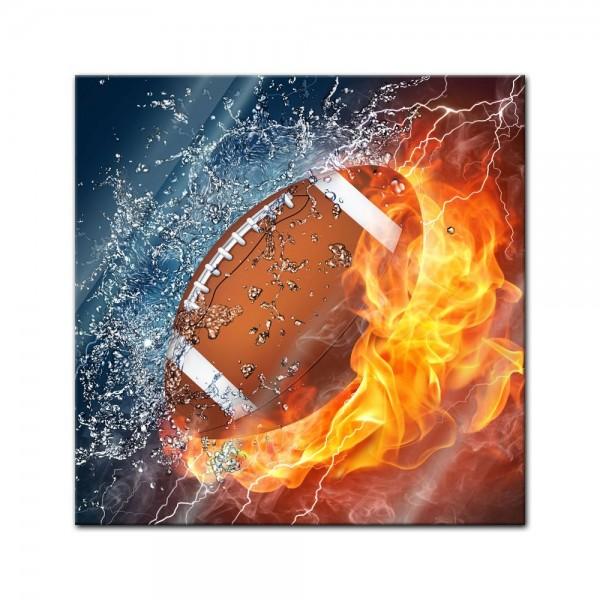 Glasbild - Football - Feuer und Eis