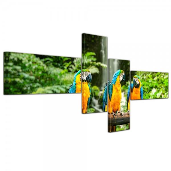 SALE Leinwandbild - Blau-Gelber Papagei - 140x65 cm 4tlg