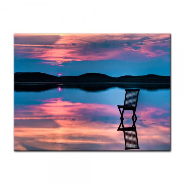 Leinwandbild - Sonnenuntergang über dem See