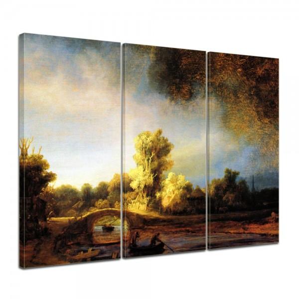 SALE Leinwandbild - Rembrandt Landschaft mit Steinbrücke - 120x80 cm 3tlg