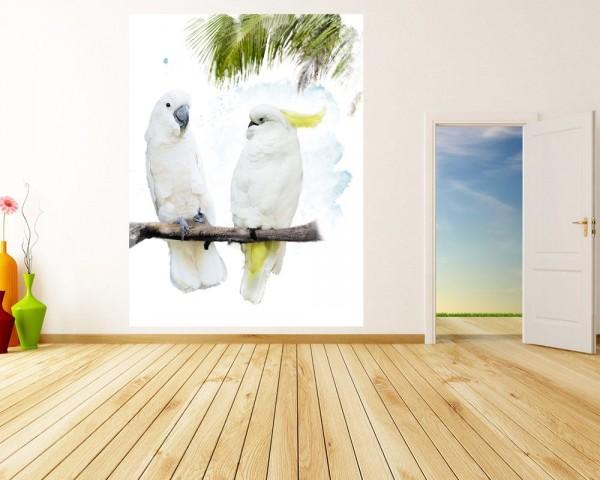 Fototapete - Wasserfarbenbild Kakadus