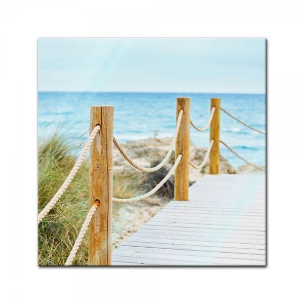 Glasbild - Schöner Weg zum Strand