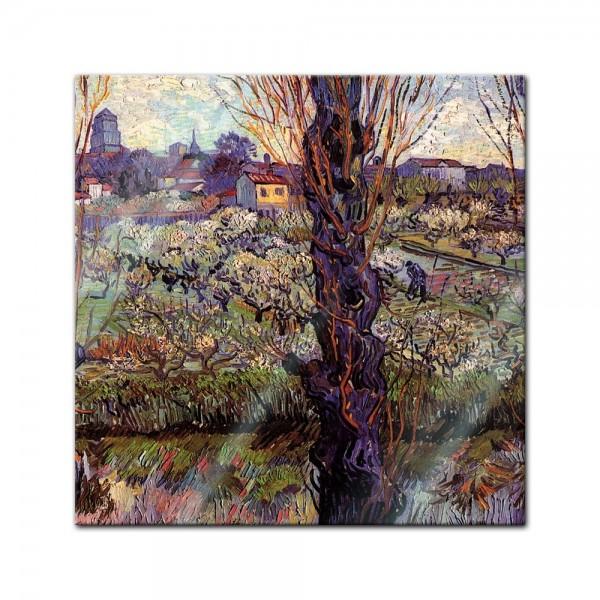 Glasbild Vincent van Gogh - Alte Meister - Blick auf Arles