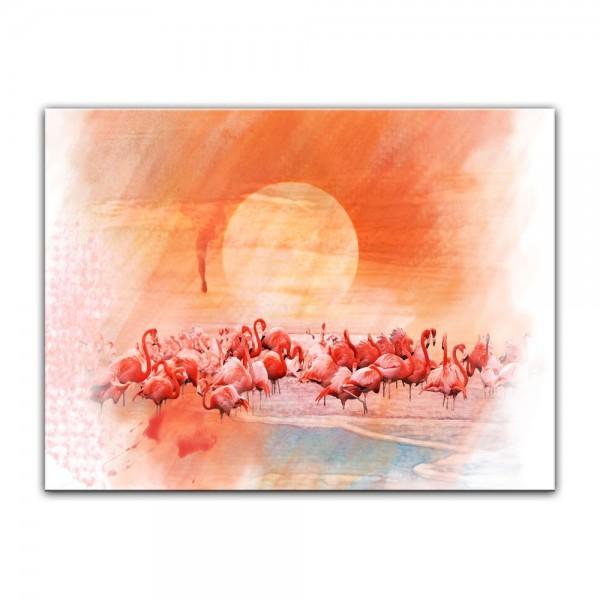 Leinwandbild - Aquarell - Flamingo III