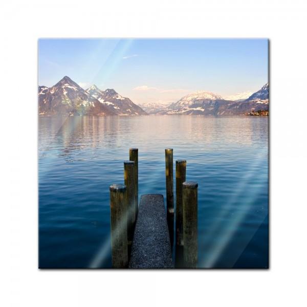 Glasbild - Steg am Bergsee
