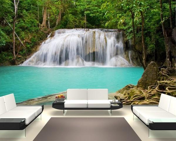 Fototapete Dschungel Wasserfall in Thailand, Provinz Kanchanaburi