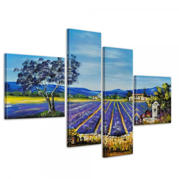 Lavendelfeld M1 - Leinwandbild 4 teilig 100x70cm Handgemalt