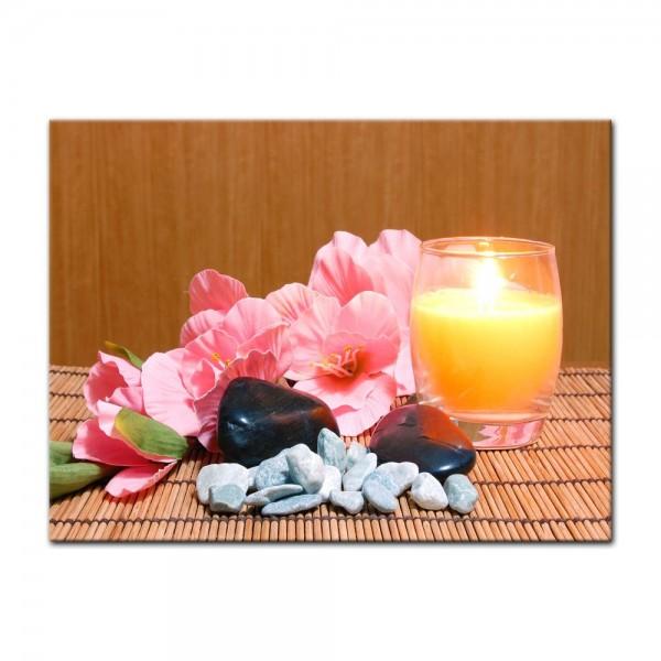 Leinwandbild - Gladiole mit Zensteinen und Kerze