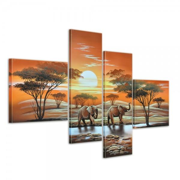 Elefant Afrika M3 - Leinwandbild 4 teilig 100x70cm Handgemalt