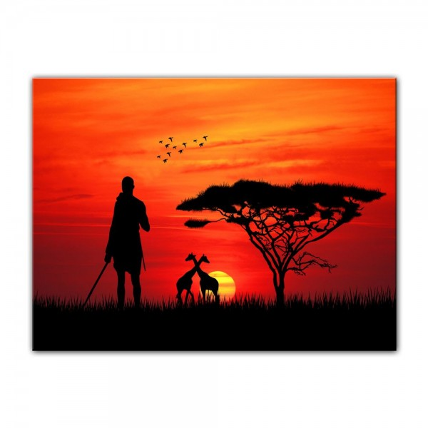 Leinwandbild - Silhouette - Massai im Sonnenuntergang